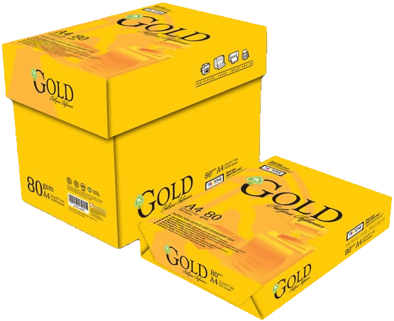 Yellow 80gsm Gold looking box of A4 copy papers